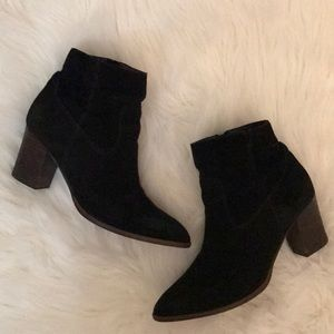 Franco Sarto Black Suede Echelon Block Booties